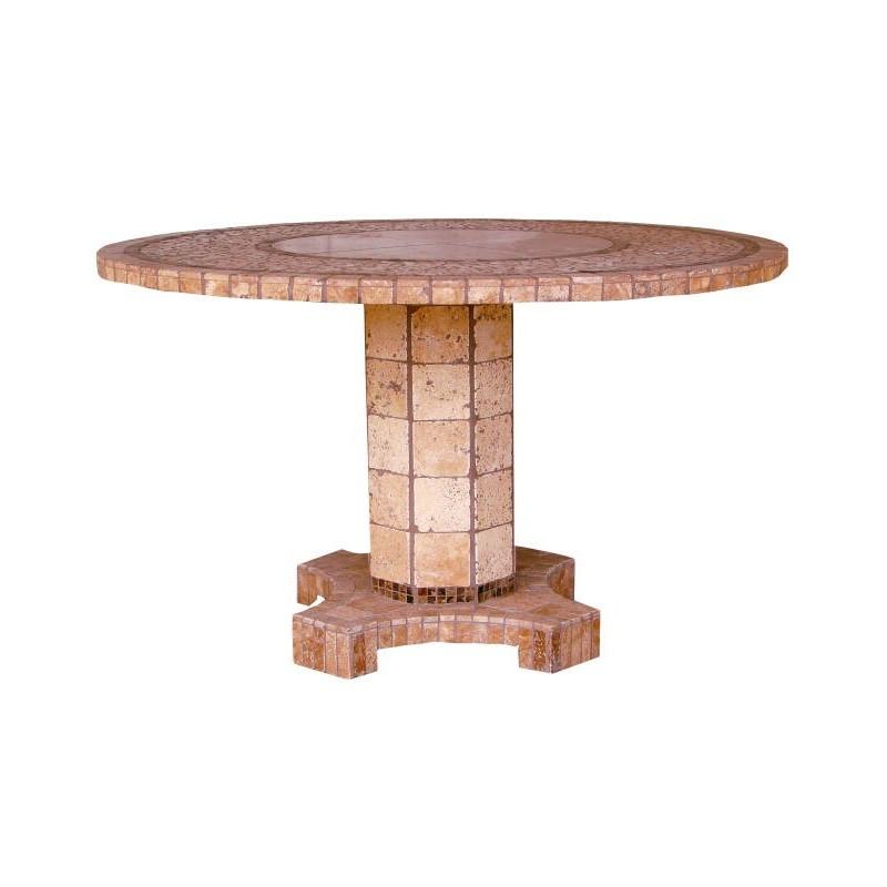 Agea Stone Tile Mosaic Chat Table Base