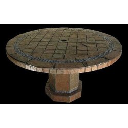 Roma Mosaic Stone Tile Dining Table Base - Shown with Optional Mosaic Table Top