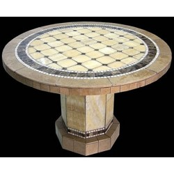 Roma Mosaic Stone Tile Chat Table Base - Shown with Optional Mosaic Table Top