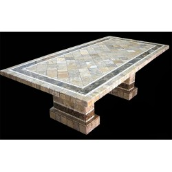 Pompeii Mosaic Stone Tile Dining Table Base Set