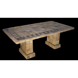 Pompeii Mosaic Stone Tile Bar Height Table Base Set - Shown with Optional Mosaic Table Top