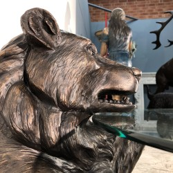 Bronze Bear Coffee Table Base with Glass