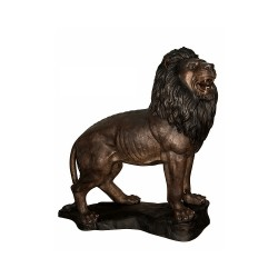 Bronze Standing Lion on Base Sculpture (Right)