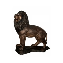 Bronze Standing Lion on Base Sculpture (Left)