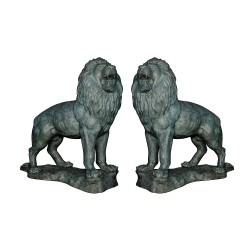 Bronze Standing Lions atop Base Sculpture Pair (Verdigris Finish)