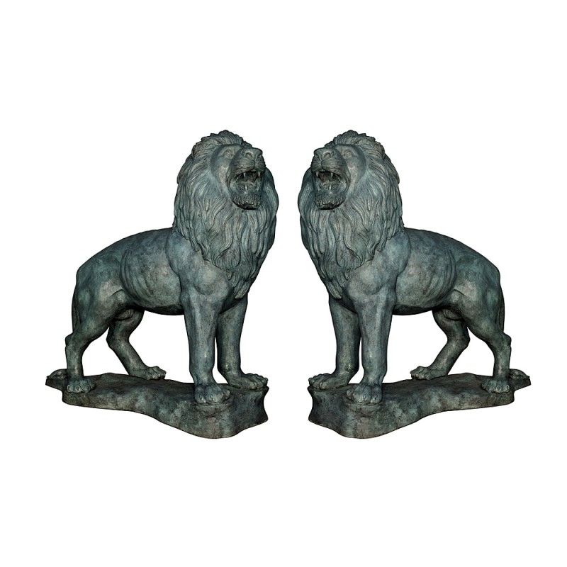 Bronze Standing Lions atop Base Sculpture Pair (Verdigris Finish)