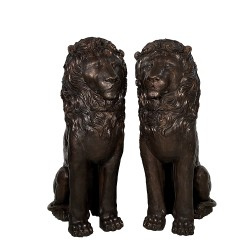 Bronze Six Foot Sitting Lions Sculpture Pair