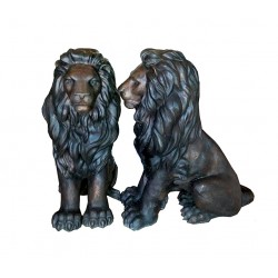 Bronze Sitting Lions Sculpture Pair