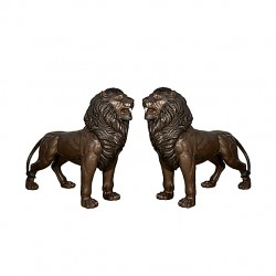 Bronze Standing Lions Sculpture Pair with Mouths Open