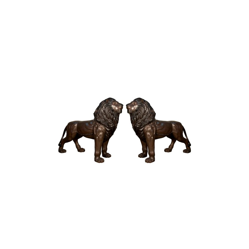 copy of Bronze Standing Lions Sculpture Pair with Mouths Closed