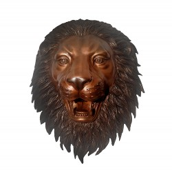 Bronze Lion Face Fountain Sculpture with Brown Patina