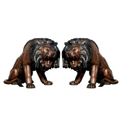 Bronze Roaring Lions Sculpture Pair