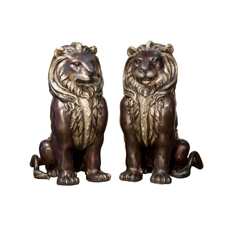 Bronze Sitting Lions Sculpture Set