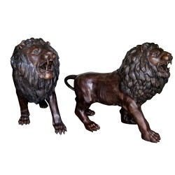 Bronze Walking Lions Sculpture Pair