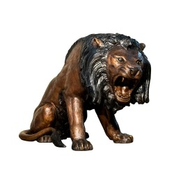 Bronze Roaring Lions Sculpture