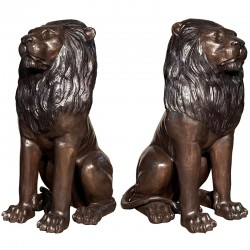 Bronze Sitting Lions Sculpture Set - A