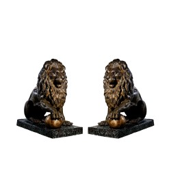 Bronze Sitting Lions with Ball Sculpture Set
