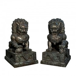 Bronze Chinese Lions on Pedestal Sculpture Set