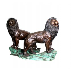 Bronze Lions on Rock Ledge Base Sculpture Set
