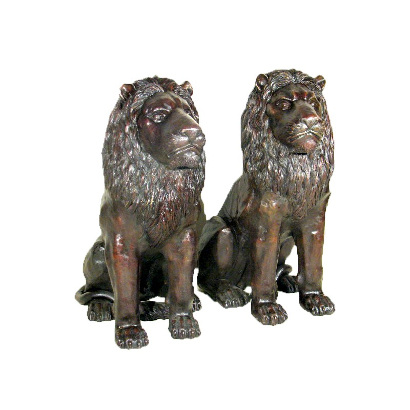 Bronze Sitting Lions Sculpture Set