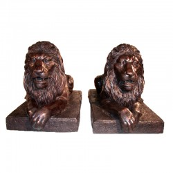 Bronze Lying Lions on Base Sculpture Pair