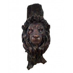 Bronze Lion Head Wall Sculpture