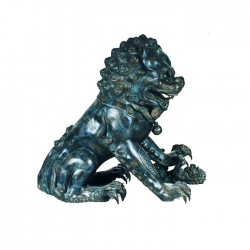 Bronze Chinese Lion with Ball Sculpture
