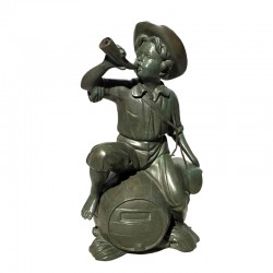 Bronze Table Top Boy on Barrel Blowing Horn Fountain
