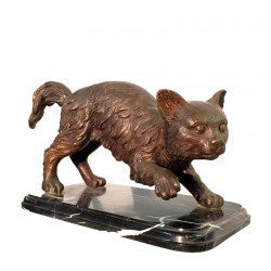 Bronze Table Top Cat Sculpture on Marble Base