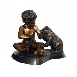 Bronze Table Top Child & Cat Sculpture
