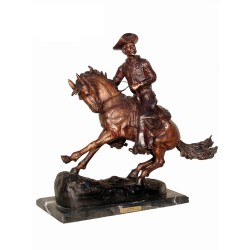 Bronze Table Top Frederick Remington Cowboy on Horse Sculpture