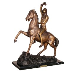 Bronze Table Top Frederick Remington Scalp Sculpture