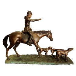 Bronze Table Top Hunter on Horse with Dogs Sculpture