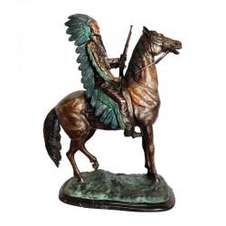 Bronze Table Top Indian Dan on Horse Sculpture