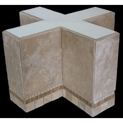 Cross Mosaic Stone Tile End Table Base