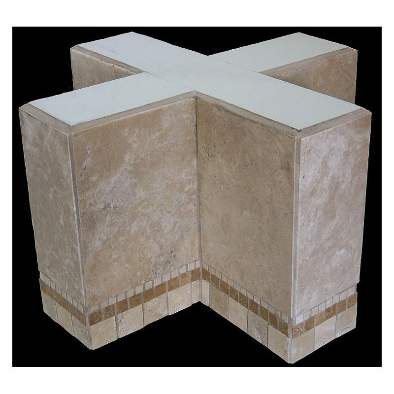 Cross Mosaic Stone Tile End Table Base