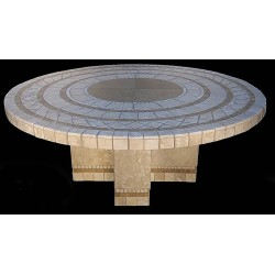 Cross Mosaic Stone Tile End Table Base - Shown with Optional Mosaic Table Top