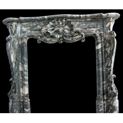 Black & White Marble Leaf Fireplace Mantle Surround