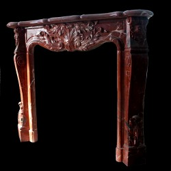 Blood Red Marble Simple Leaf Fireplace Mantle Surround