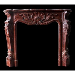 Blood Red Marble Leaf Fireplace Mantle Surround