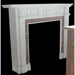White and Red Elegant Marble Fireplace Mantle Surround