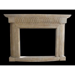 Modern Beige Marble Fireplace Surround