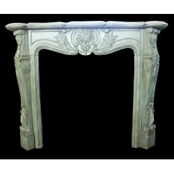 Sage Green Marble Floral Fireplace Surround