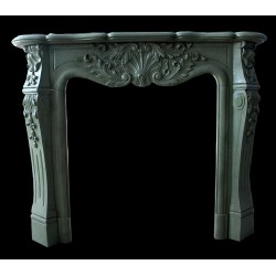 Sage Green Marble Leaf Fireplace Surround