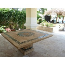 Troy Square Mosaic Stone Tile Counter Height Table Base - Shown with Optional Mosaic Table Top