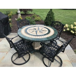Green Compass Mosaic Table Top - Shown with Optional Matching Roma Table Base