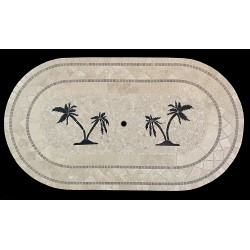 Double Palm Tree Mosaic Table Top