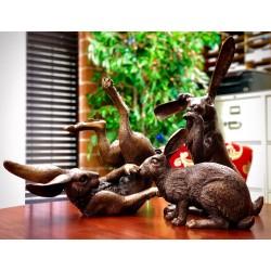 Bronze Set of Three Bunny Rabbit Sculpture