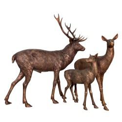Bronze Deer Family of Three Sculpture Set