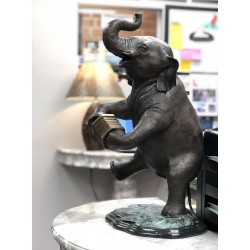 Bronze Elephant playing Accordion Sculpture